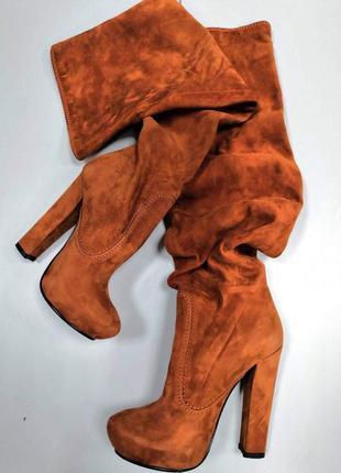 Зимние сапоги ботфорты на каблуке dumonde
