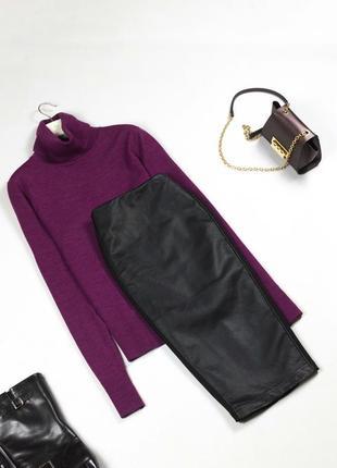 Трендовая черная кожаная юбка миди / юбка карандаш из кожзаменителя xs s