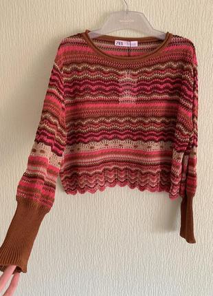 Новый ажурный свитер zara