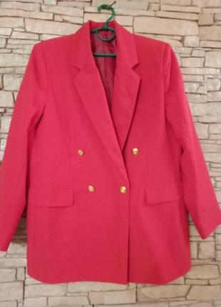 Трендовый модный длинный двубортный жакет,пиджак,блейзер,батал