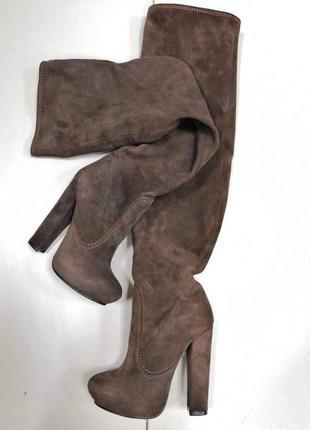 Зимние сапоги ботфорты еа каблуке dumonde