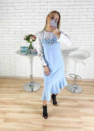 Шикарное платье в полоску с красивыми бусинами спереди