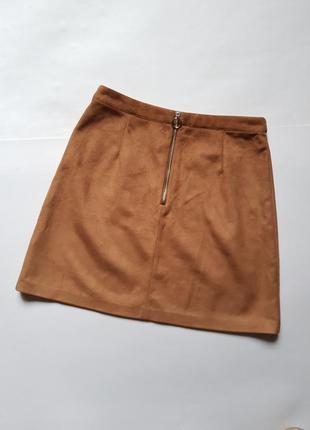 Актуальная замшевая юбка трапеция с замком,юбка под замш горчичного цвета,юбка трапеция