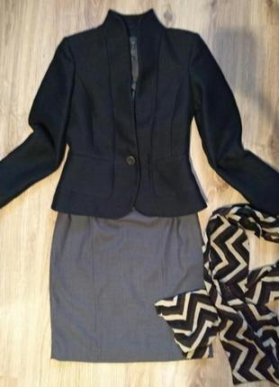 Mango шикарный комплект пиджак+платье+шелковый шарф,офисный