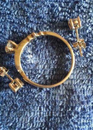 Комплект кольцо сережки натуральный камень серебро 925