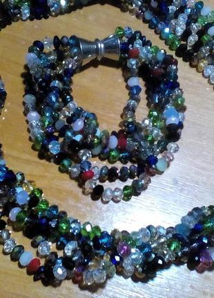 Шикарнейший набор из натурального камня бусы+браслет чешский хрусталь 50 см.
