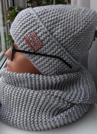 Новый стильный комплект: шапка (полный флис) и хомут 2 оборота, серый