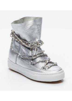 Новые хайтопы ikkii кожа серебро танкетка ботинки сникерсы серебро