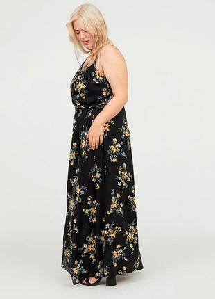 Красивое вискозное платье макси в цветы h&m 42/44