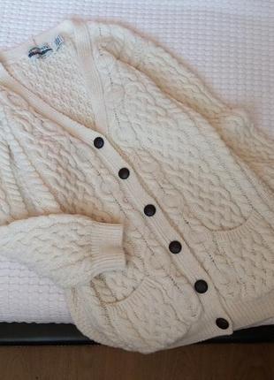 Винтажный вязаный шерстяной удлиненный кардиган винтаж aran crafts