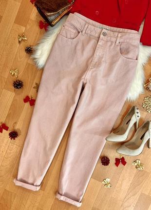 Актуальные нежно-розовые джинсы мом №998max