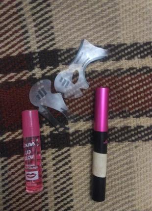 Набор масло для губ, формы для макияжа и подводка