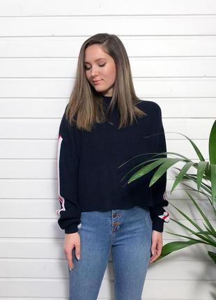 Тёмно-синий свитер с лампасами h&m