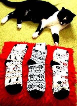 Зимние шерстяные теплые стильные носочки цена за три пары