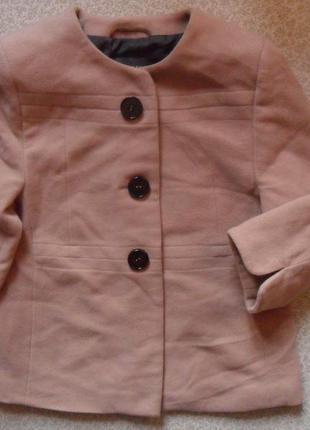 Стильное шерстяное деми пончо-полупальто пиджак на подкладке беж 52-54р