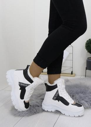 Новые шикарные женские белые зимние ботинки