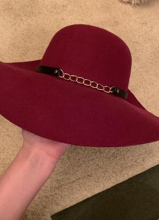 Шляпа  очень стильная , цвет марсала ,широкопольная