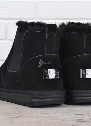 Ботинки мужские ugg australia черные замшевые опушка овчина низкие угги