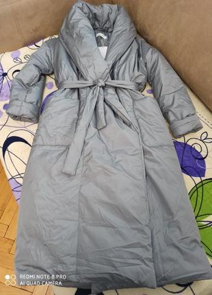 Дутое пальто-халат