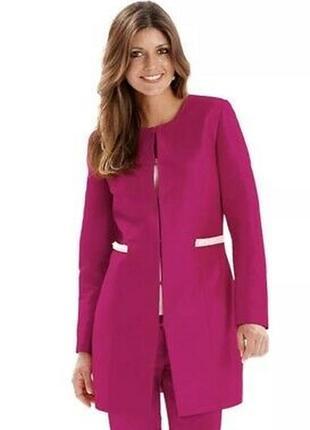 Яркий розовый удлиненный пиджак блейзер тренч joanna hope вьетнам бисер этикетка