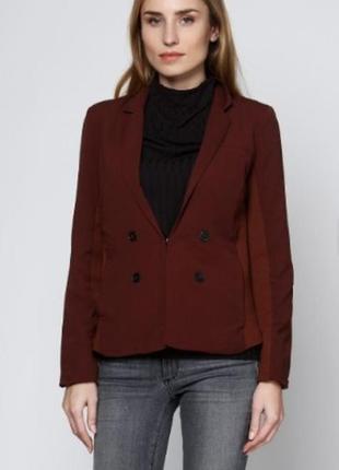 Брендовый коричневый пиджак жакет блейзер с карманами object этикетка