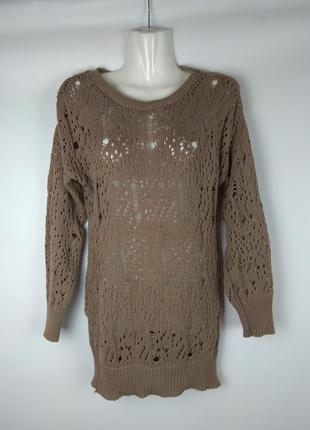 Кофта ажурная вязка, красивая туника, хлопок, свитер,джемпер