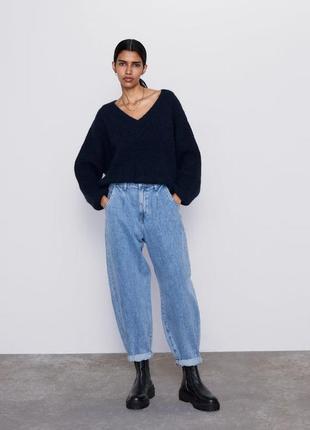 Новые джинсы zara slouchy объемные широкие mom джинсы  высокая посадка