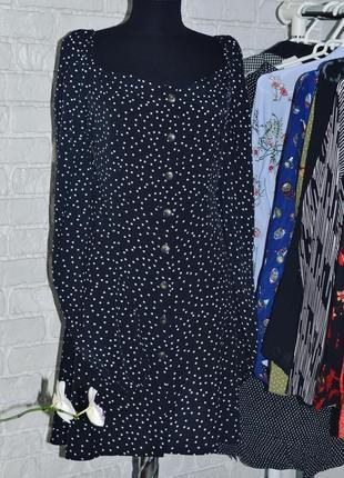 Чёрное платье в белый горошек, рукав воланом