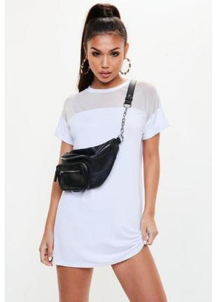 Missguided, платье -футболка с сетчатой вставкой. оверсайз 44-48 новое.