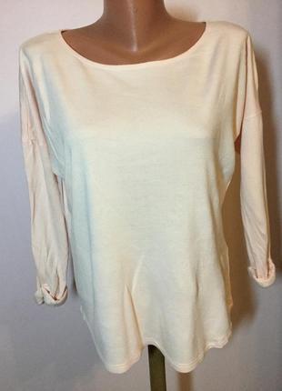Нюдовая вискозная блуза- свитерок- толстовка- оверсайз/s/ brend h& m