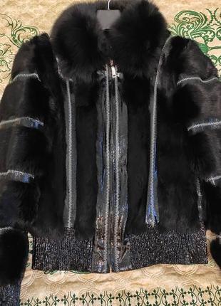 Курточка зимняя, натуральный мех из кролика