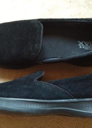 Удобные замшевые туфли-мокасины skechers р. 37,5/38