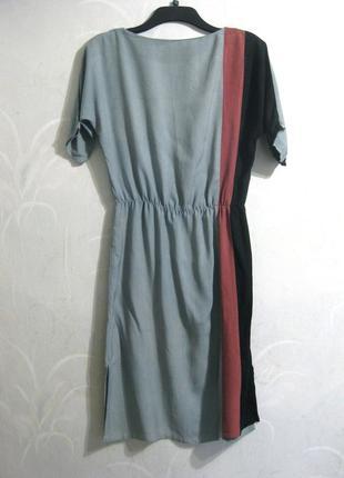 Льняное платье touch me лён голубое разноцветное миди на резинке летнее повседневное