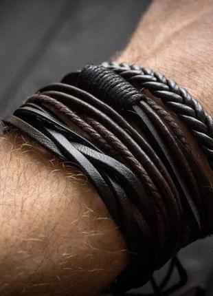 Продам набор кожаных браслетов мужских 4 шт
