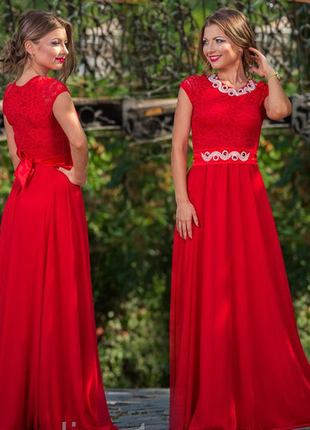 ... Червоне нарядне шикарне довге плаття сукня шифон гіпюр кружево красное2  ... f224077ae904f