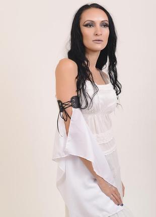 Белый шифоновый рукав крылья на кожаных браслета танцевальный аксессуар танец живота