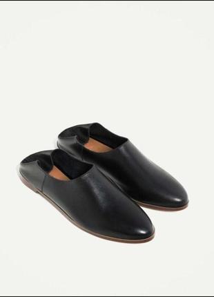 Кожаные туфли, балетки шлёпанцы zara