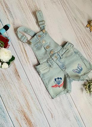 Фирменный джинсовый комбинезон h&m малышке 2-3