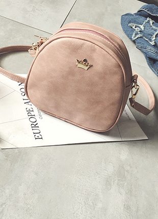 Красивая пудровая сумочка на длинной ручке