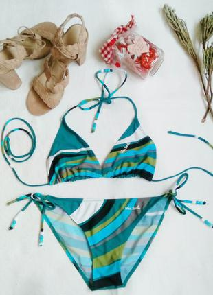 """Яркий купальник от бренда """"urban beach"""" в абстрактный полосатый принт. размер 10-12. новый!"""