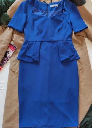 Платье синее с баской классическое миди футляр карандаш marks&spenser
