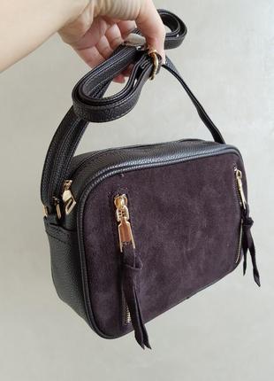 Замшевый клатч сумка из натурального замша, цвета черный шоколадный
