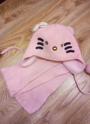 Зимний комплект (шапкая+шарф) 2-3года