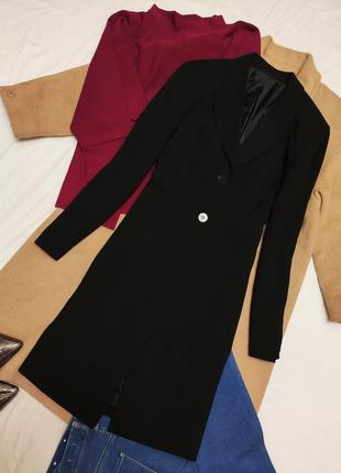 Пиджак жакет длинный удлинённый чёрный классический на пуговицах richards