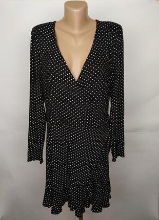 Платье стильное в горошек на запах большой размер new look uk 18/46/xxl