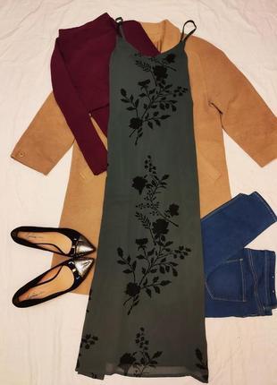 Платье серое с чёрными цветами длинное в пол макси шифоновое vero moda