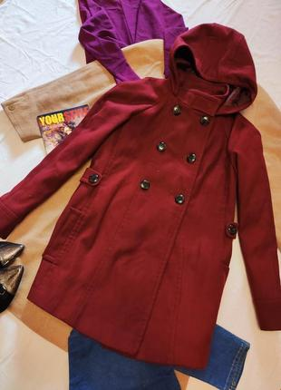 E-vie пальто бордо бордовое марсала с капюшоном прямое укороченное под горло