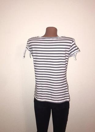 Последняя цена!🔥 стильная белая футболка в полоску women.3 фото