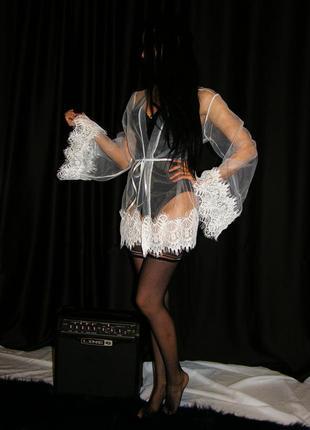 Белый тюлевый халат клеш рукав с кружевами кружевной прозрачный пеньюар