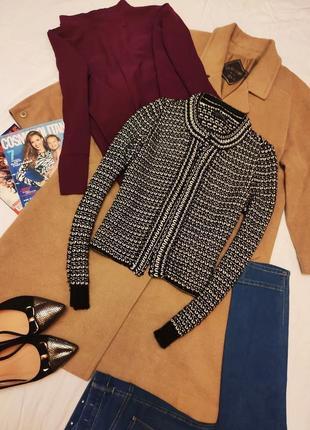 Topshop жакет пиджак чёрный белый золотая нитка в стиле шанель твидовый вязанный